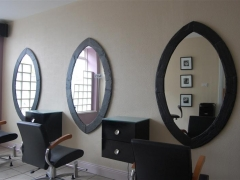 oval mirrors desigend and made for hair salon by heartworks