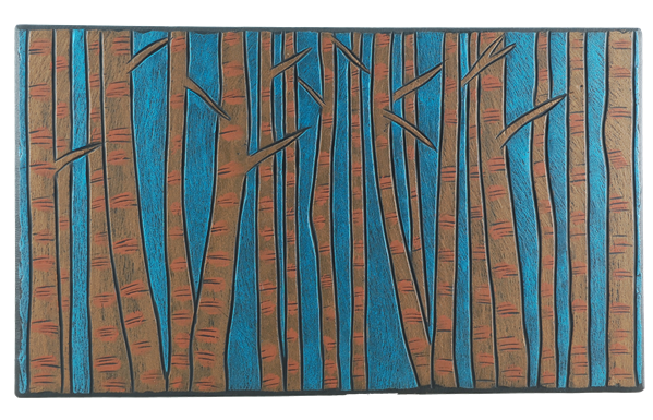 birch forest painted on slate