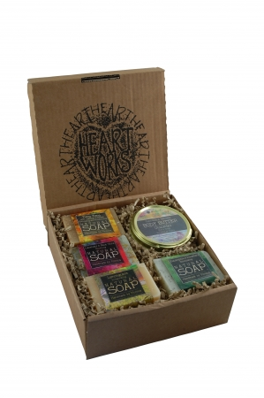 Body Butter, face cream, lip balms and soap in a gift set