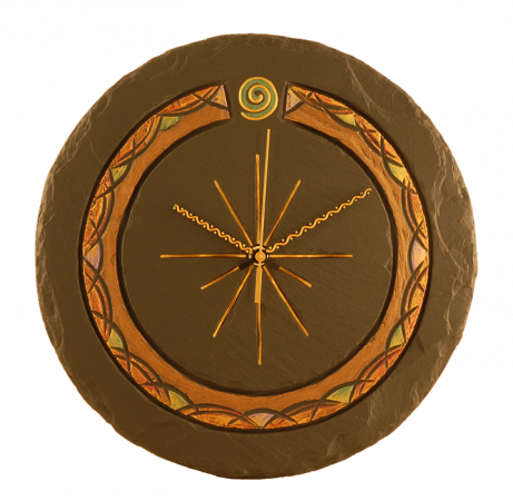Slate round clock celtic with spiral
