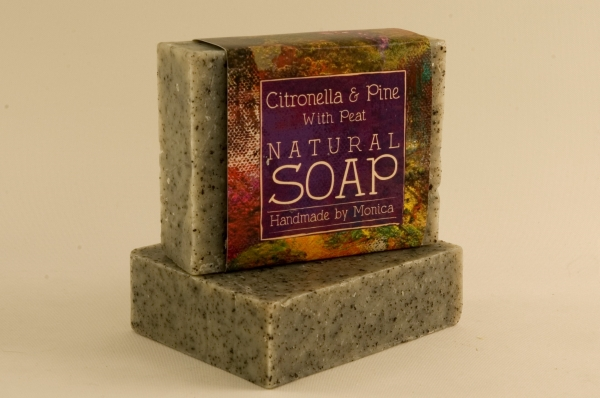 citronella and pine with peat natural soap.
