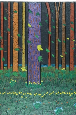 Detail of a woodland scene on slate