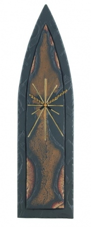 Gothic slate clock with gold and bronze