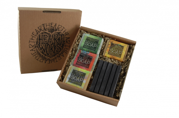 handmade natural soap in a box with slate soap dish