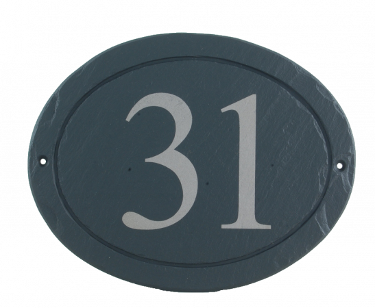 oval slate house number plaque