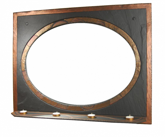 Over Mantel Slate Mirror With Shelf (b)
