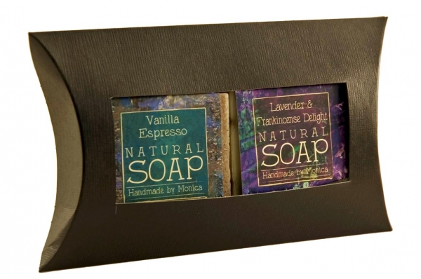 natural soap in a pillow box
