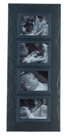 quadruple photo frame charcoal band