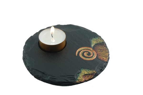 Slate Tealight Holders with Celtic Motifs