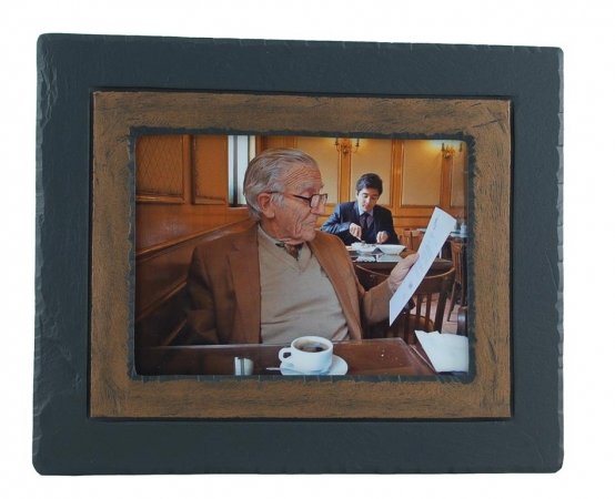 slate photo frame brown band.