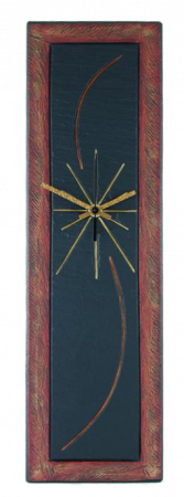 slate rect clock red band design