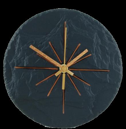 slate round clock black