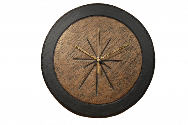 slate round clock with bronze