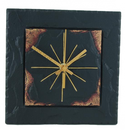 slate square clock gold edge