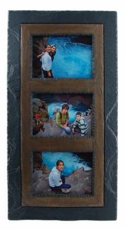 slate triple photo frame brown band