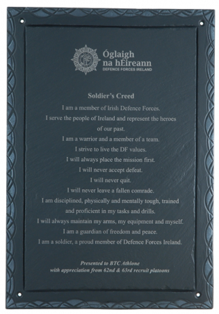 soldier's creed laser printed on slate