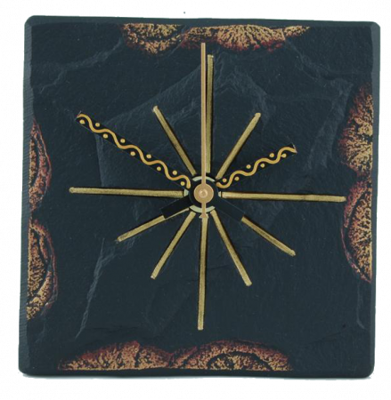 square clock slate gold edge