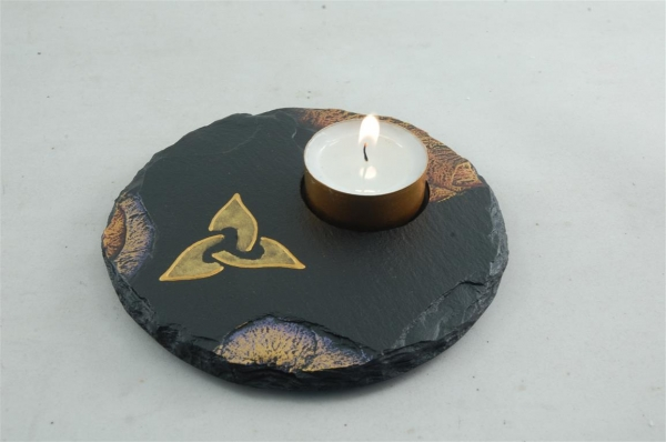Slate tealight holders with Celtic and/or Bird themes
