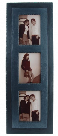 Triple slate photo frame with charcoal band