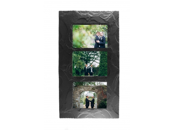 "Slate Triple Photo Frame 7""x5"" Landscape in Portrait"