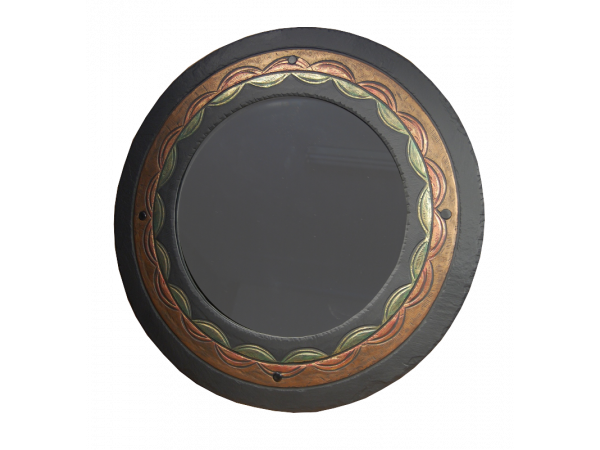 Slate Round Mirror Ornate