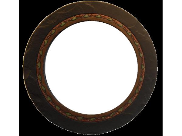 Slate Round Mirror Ornate