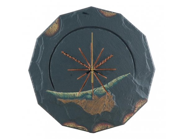 Slate round clock gold edge with green 11½""