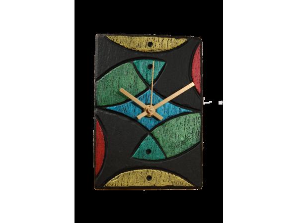 Slate Clock 6x4 Rainbow Fish