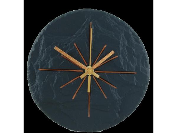"Slate Round Clock Black 7½"""