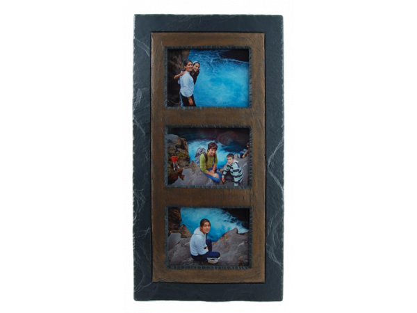 "Slate Triple Photo Frame 7""x5"" Landscape in Portrait Brown Band"