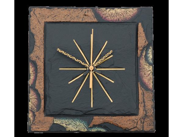 """Square 7½"""" clock green/bronze border"""