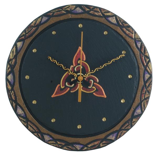 round slate clock with celtic trinity black inside