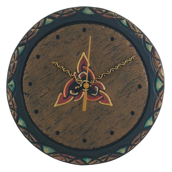 round slate clock with celtic trinity