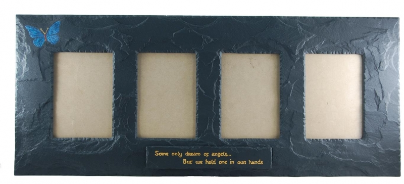 BUTTERFLY THEME ON QUADRUPLE SLATE PICTURE FRAME WITH INSCRIPTION