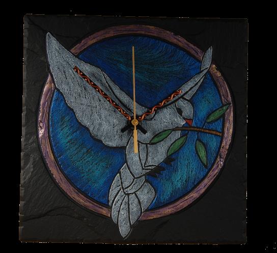 slate clock dove of peace