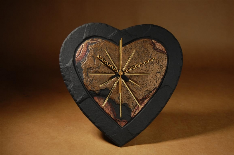 heart shaped slate clock