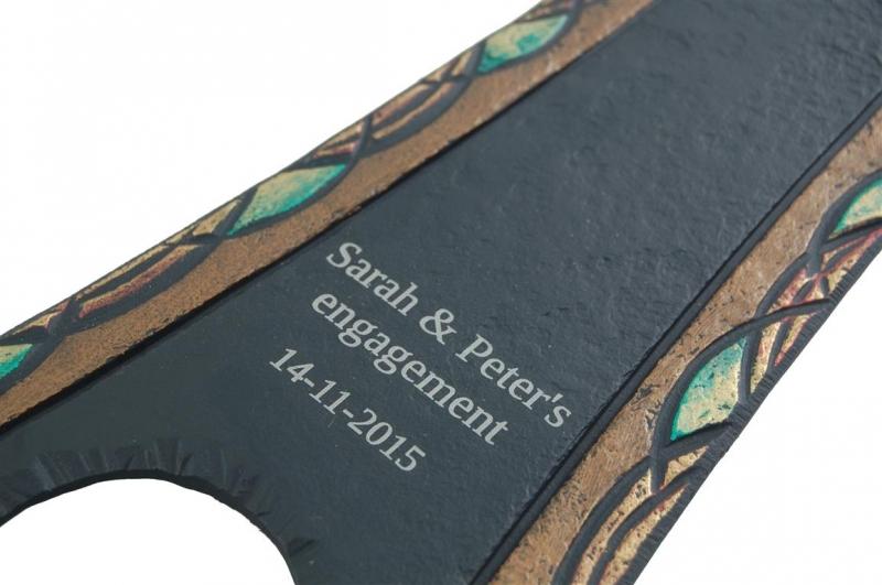 laser printed inscription on a heartworks slate piece