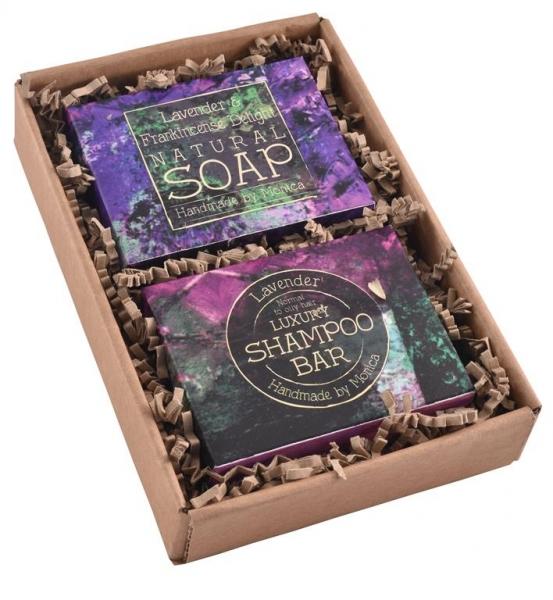 Lavender soap and shampoo bar gift set