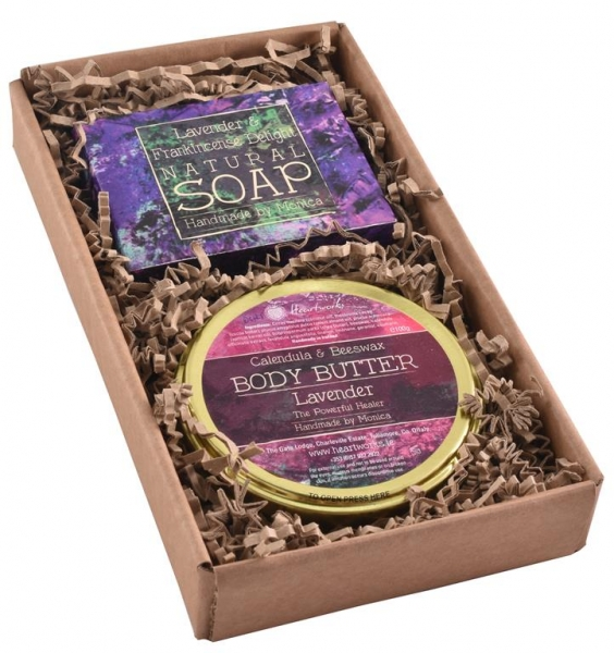 Gift set of lavender natural soap and lavender body butter