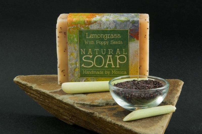 Palm Free Natural Handmade Soap 'Lemongrass with Poppy Seeds