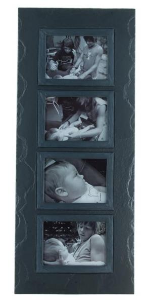 quadruple photo frame charcoal band