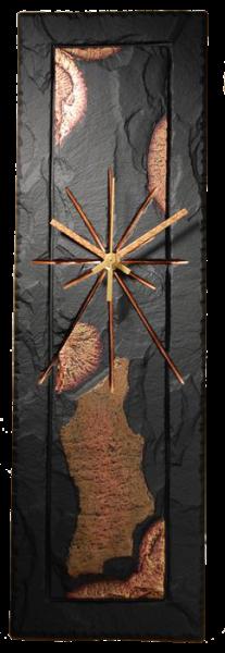 slate rectangular bronze effect clock