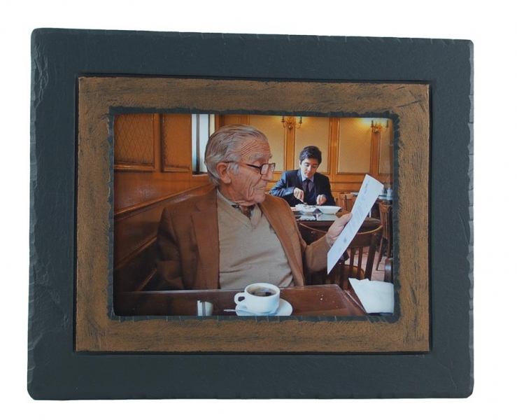 slate photo frame brown band.