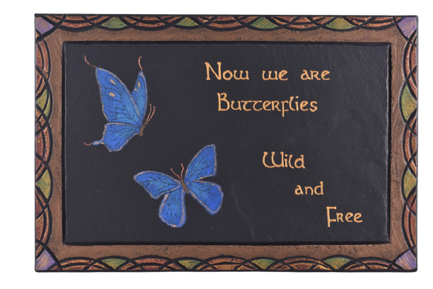 Slate Plaque with Butterfly motif.