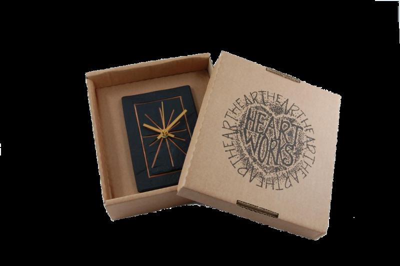 slate rectangular clock in a box