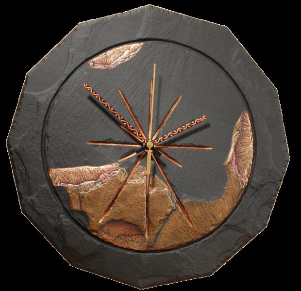 slate round clock coloured