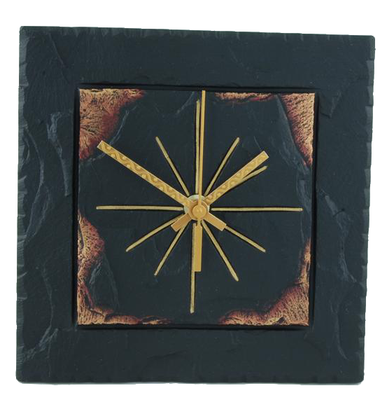 slate square clock gold edge