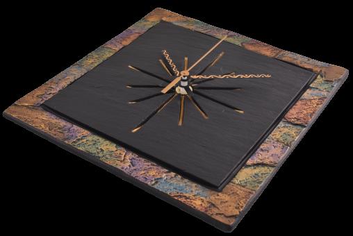 Slate Square clock with multi coloured border