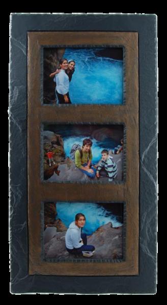 slate triple photo frame brown band