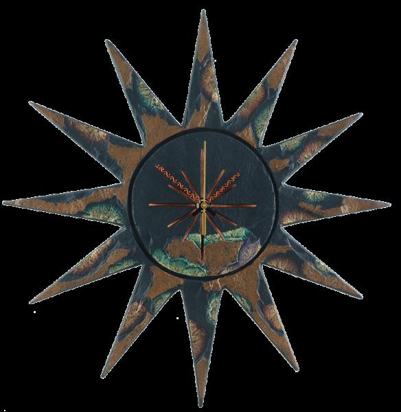 sun clock gold green edge